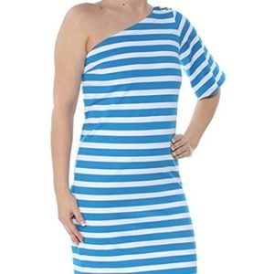 Ralph Lauren Womens Striped One Shoulder Dress
